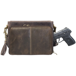 Cross body Clutch RFID Pocket Hammered Rivets in Brown