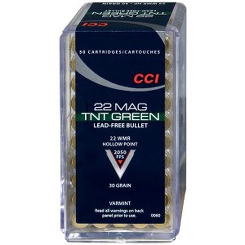 CCI TNT Green 22 WMR Lead-Free Hollow Point 30 grain 50 round