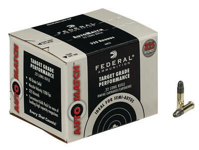 Federal Ammunition Auto Match Target Grade Performance .22 Long Rifle 325 Rounds